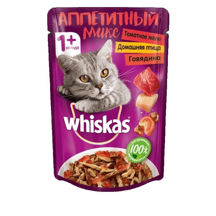 WHISKAS  Аппетитный Микс желе томат Говядина/Птица  85 г